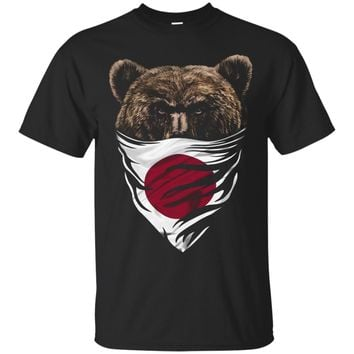 Stern Grizzly Bear in Japanese Hinomaru Bandana T-Shirt