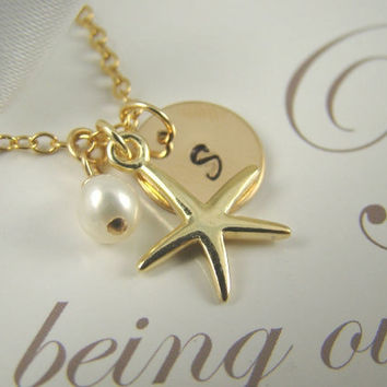 Flower Girl Gift Gold Initial Starfish Necklace, Personalized Flower Girl Jewelry, Beach Themed Wedding Jewelry