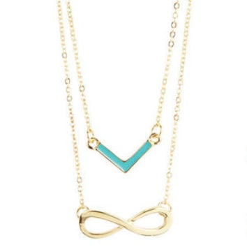 Chevron/Infinity Symbol Necklace Set - Multi