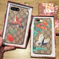 Cute GUCCI Bird Butterfly Print iPhone Phone Cover Case For iphone 6 6s 6plus 6s-plus 7 7plus