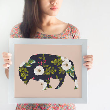 Floral Bison 8x10 Print // Home Decor // Bison Print // Buffalo Print // Animal Decor