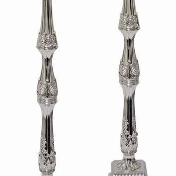 "Ultimate Judaica Silver Plated Candle Sticks - 18"" H"