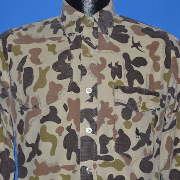 70s Ducks Unlimited Brown Frog Camo Hunting Shirt Small