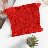 Shirring Bandeau Top RED