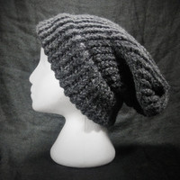Slouchy Winter Beanie Hat, Charcoal Grey, Handmade, Men and Women