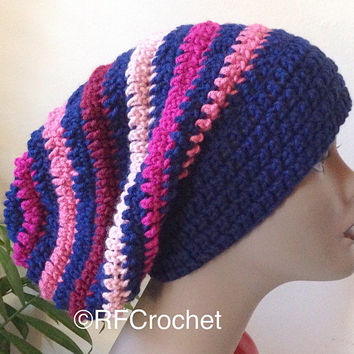 Navy Blue and Pink Shades Slouchy Beanie | Adult Beanie | SOFT | Primary Colors | Bad Hair Day | Crochet Slouchy Hat | Wide Band