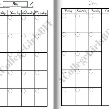 Personal Size Planner Undated Inserts May through August Month on two pages. Can be used in Filofax, Erin Condren, Kikki K, etc.