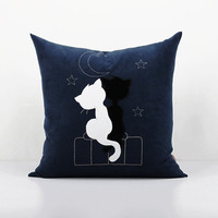 Lovers cats pillowcase,Black and white cats pillow,Moon cushion cover, Decorative pillow,Home decor,embroider throw pillow,Accent pillowcase
