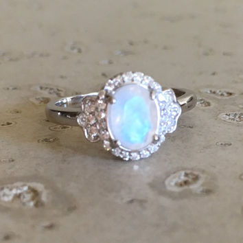 Moonstone Promise Ring- Delicate Ring- Rainbow Ring- Engagement Ring- Rainbow Moonstone Ring- Sterling Silver Ring- Art Deco Ring