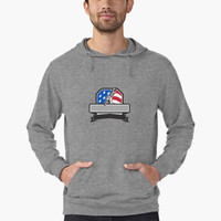 'Plumber Hand Holding Pipe Wrench USA Flag Crest Retro' Lightweight Hoodie by patrimonio
