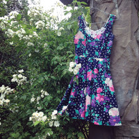 Vintage Retro Floral Sun Dress Late '80s/Early '90s - FREE Shipping
