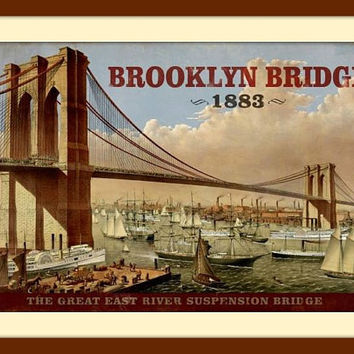 Brooklyn Bridge Art, Metal Wall Art, Vintage Metal Signs, Metal Signs, Vintage Decor, Vintage Signs, Vintage Wall Art, Travel Poster