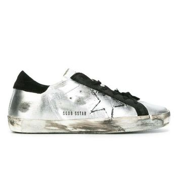 ONETOW GOLDEN GOOSE DELUXE BRAND SUPER STAR SNEAKERS METALLIC SILVER - BLACK