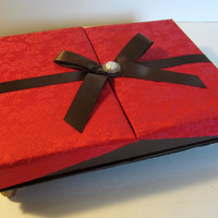 Red, Black and Brown Upcycled Box of Chocolates into Jewelry or Keepsake Box
