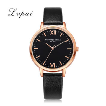 2017 Lvpai Top Brand Women Bracelet Watch Contracted Classic Rose Gold Leather WristWatches Women Dress Ladies Quartz Clock
