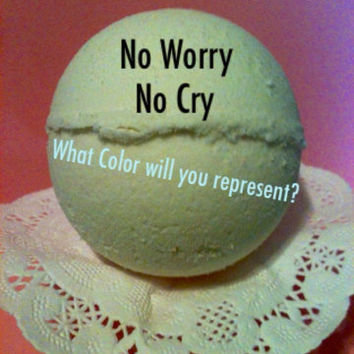 NEW No Worry No Cry COLOR CHANGING bath bomb , made with Frankincense & Myrrh  essential oils