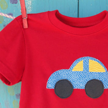 Children's Appliqued Tshirt Car Applique on Red by OddEDesigns