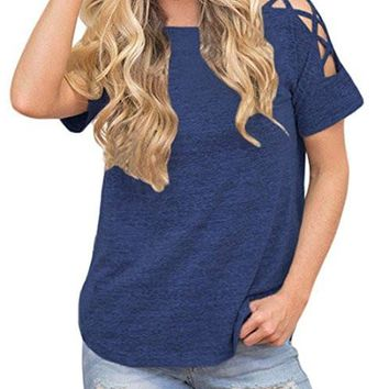 Women Sexy Cold Shoulder Cut Out Blouse Casual T Shirt Tops
