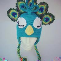 Crochet Peacock Hat