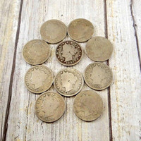 Antique 1890s Liberty Head V Nickels, Set of 10