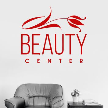 Vinyl Wall Decal Beauty Center Woman Salon Spa Flower Nails Stickers Unique Gift (ig3236)
