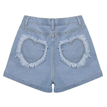 2017 New Women Shorts Kawaii Blue Love Patch Embroidery Cotton Denim Shorts High Waist Casual Shorts