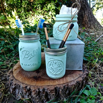 Set of 3 Mason Jar Organizer. Bathroom Storage. Kitchen Decor. Painted and Distressed Jars. Bathroom Set Mason Jar Kit. Country Rustic Decor