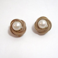 Vintage Clip On Earrings Pearl gold rope design Crosse 1964 made in Germany