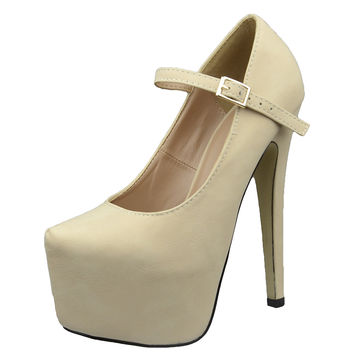 Womens Platform Shoes Ankle Strap Closed Toe Stiletto Pumps Nude SZ