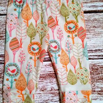 Organic leggings, birds, trees, baby girl pants, baby girl leggings, organic baby, organic baby leggings, organic toddler leggings, leggins