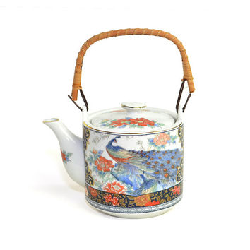 Royal Peacock Teapot, Made in Japan - Porcelain Pot, Bamboo Style Wrapped Cane Handle - Gorgeous Bird & Feathers - Vintage Home Decor