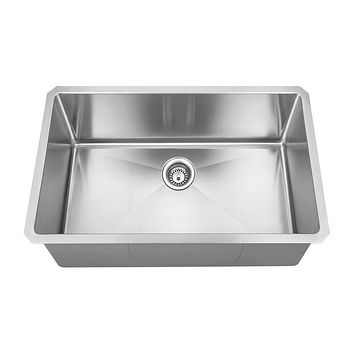 DAX-2818R10 / DAX HANDMADE SINGLE BOWL UNDERMOUNT KITCHEN SINK, 18 GAUGE STAINLESS STEEL, BRUSHED FINISH