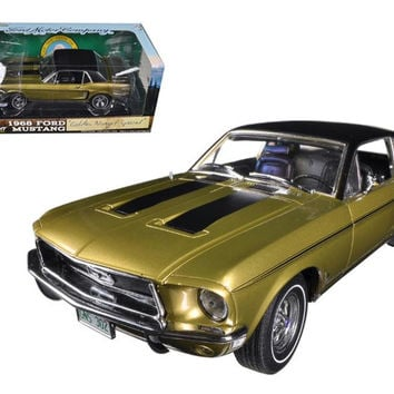 "1968 Ford Mustang ""Golden Nugget Special"" Sunlit Gold with Black Stripes 1-18 Diecast Car Model by Greenlight"