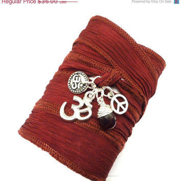 SALE Silk Wrap Bracelet with Om Charms, Peace Sign, and Garnet ,bohemian jewelry, yoga jewelry, wrap bracelet, hand painted silk ribbon