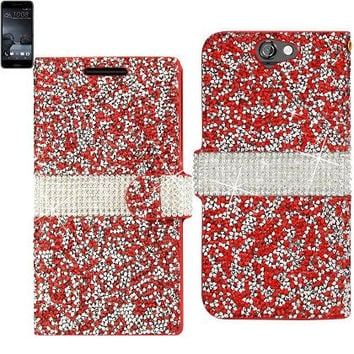 BLING Diamond Flip Case HTC One A9 RED