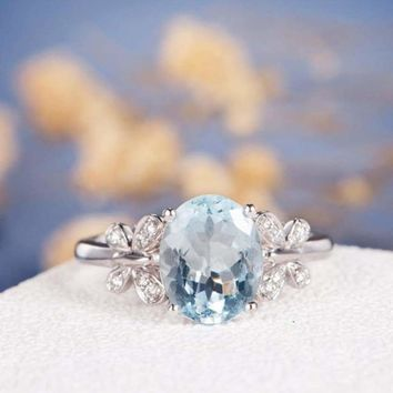 Fashion Crystal Blue Stone Butterfly Wedding Rings For Women Elegant Sliver Color Rhinestone Engagement Ring Jewelry Party Gifts