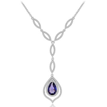Simulated Pear Shaped Amethyst and CZ Formal Occasion Statement Necklace