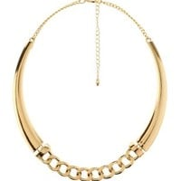 Chain & Crescent Choker Necklace by Charlotte Russe - Gold