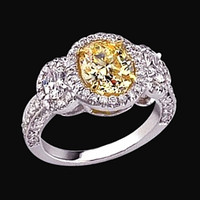 4.5 carat diamonds 3 stone style engagement ring yellow diamond