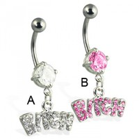 Jeweled bitch belly button ring