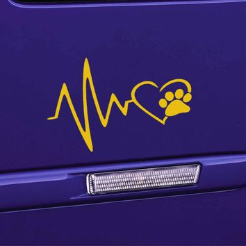 Heart Beat Paw Print Art Car Sticker