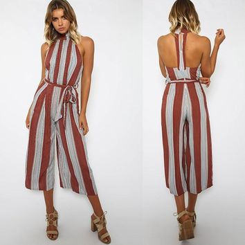 Sleeveless Jumpsuit Slim Stripes Cropped Pants Waistband [52171341850]