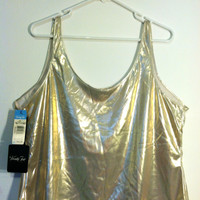 Vintage METALLIC Gold/Silver  DEADSTOCK Oversized Lingerie BOXY Tank Top