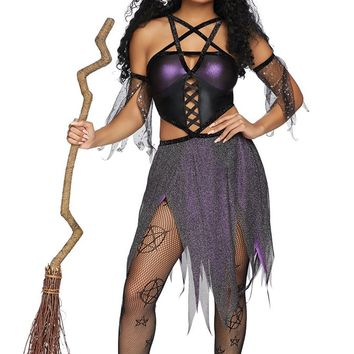Glitzy Witch Black Purple Glitter Sheer Mesh Short Sleeves Cut Out Sides Lace Up Handkerchief Hem Mini Dress Halloween Costume