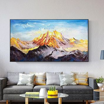 Snow mountains Peaks Abstract Oil painting on canvas Palette Knife Mordern large Wall Art Pictures for living room Dinning Room Home Decor