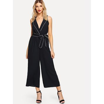 Tipping Detail Shawl Collar Wrap Palazzo Jumpsuit