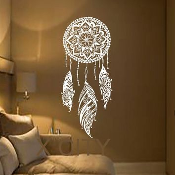 Dream Catcher Art Feather Vinyl Sticker Boho Dreamcatcher Wall Decals for Bedroom Nursery Bohemian American Indian Amulet