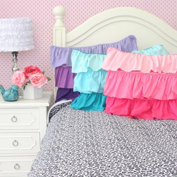 Purple, Aqua, and Pink Ruffle Pillow Shams