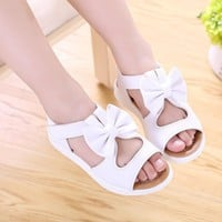Big Children Girls Kids Summer Bowtie Princess Flats Sandals Shoes For Girls White Leather Student Sandals 1 2 3 4 5 6 14 Years