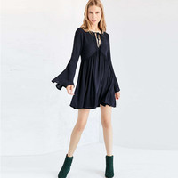 Navy Tie-neck Bell Sleeve Mini Flare Dress